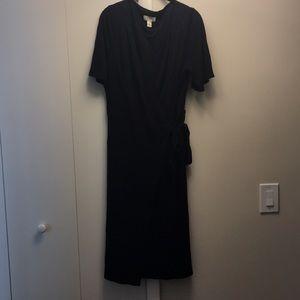 LOFT Black Wrap Dress Ankle Length